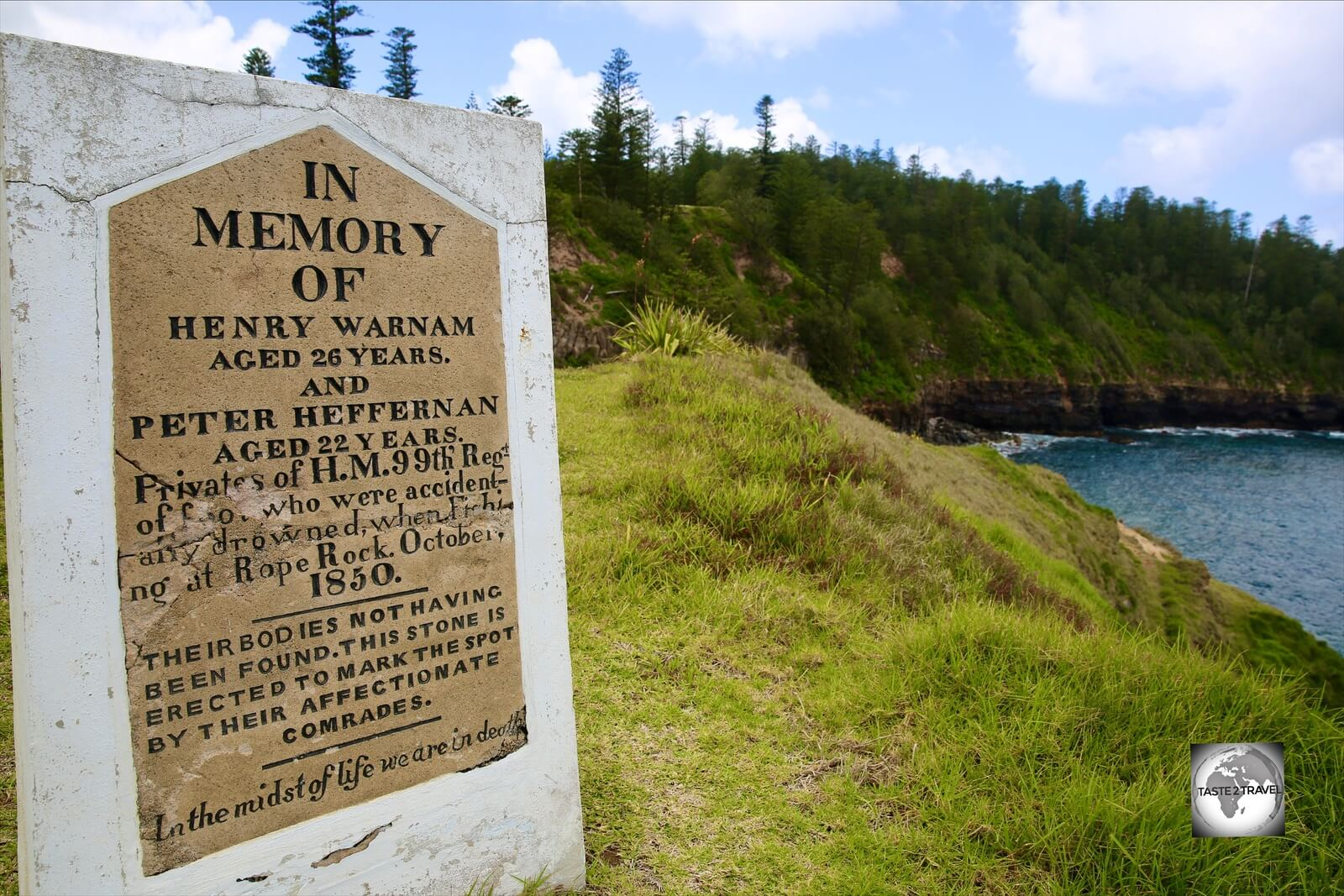 The memorial headstone at Headstone Point.