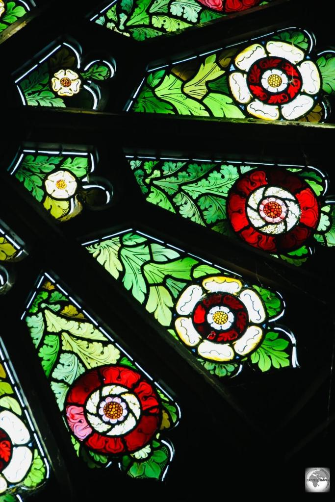 Part of the stained-glass rose window in St. Barnabas Chapel.
