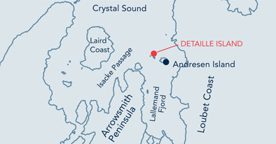 Detaille Island location map.