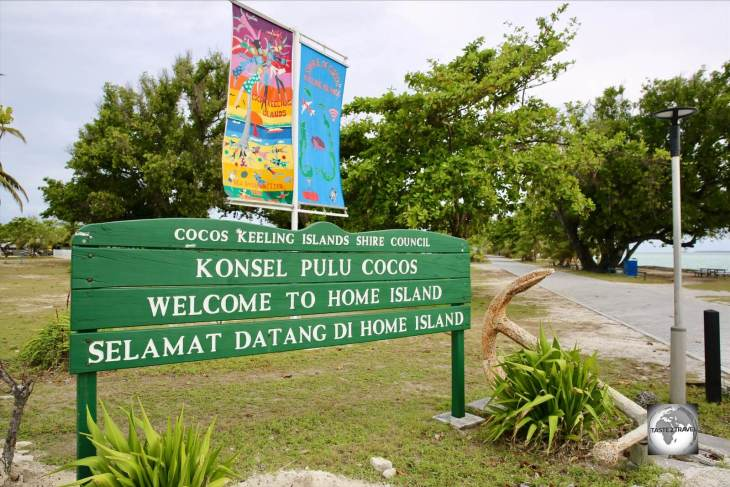 The Home Island 'Welcome' sign.