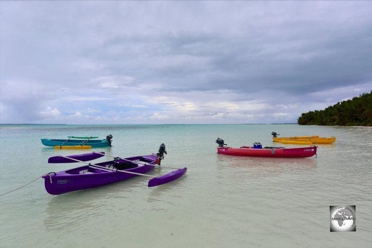 Our colourful motorised canoes at South Island.