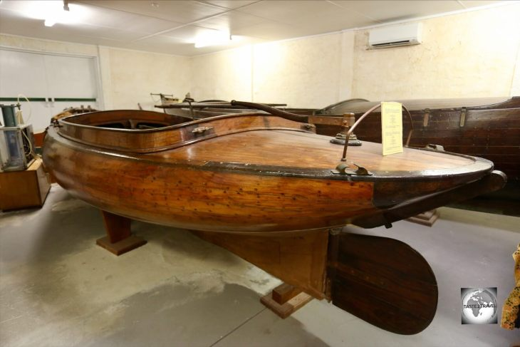 Made of teak, the very fine <i>G.C.R.</i> boat was designed in 1911 by George Clunies-Ross and is based on a design from the Shetland Islands.