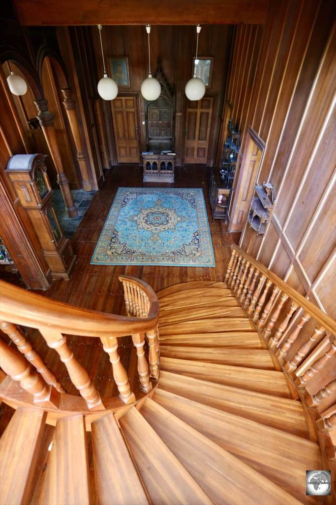 The staircase at Oceania House which is constructed from Western Australia Jarrah.
