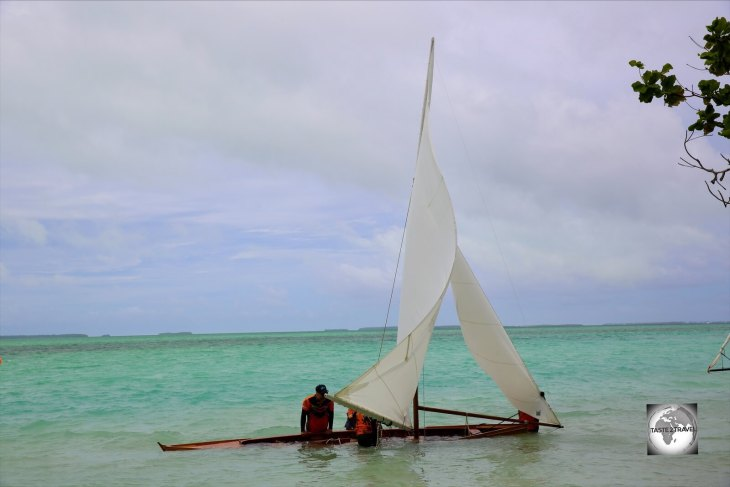 A capsized Jukong on Home Island, Cocos (Keeling) Islands.