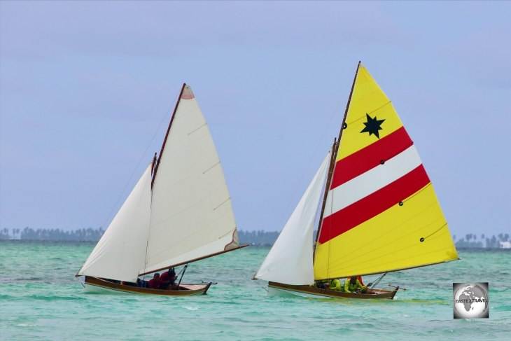 The frontrunners in the monthly Jukong race on Home Island.