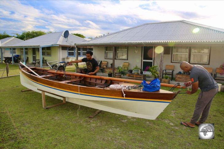A Jukong sailing team on Home Island, preparing their boat for the big race.