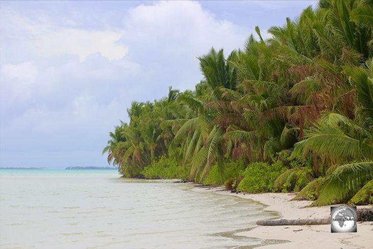 A beach on the lagoon side of West Island.