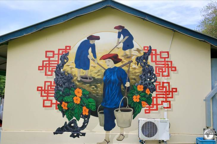 Artwork on the wall of the Chinese Cultural Heritage Museum in Settlement. Two-thirds of the population of Christmas Island claim Straits-Chinese ancestry.