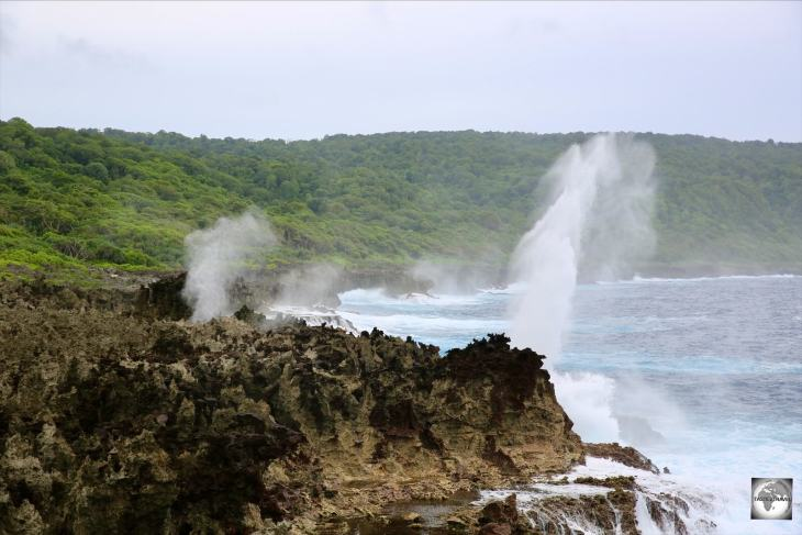 A view of the many blowholes, which line the remote south coast of Christmas Island.