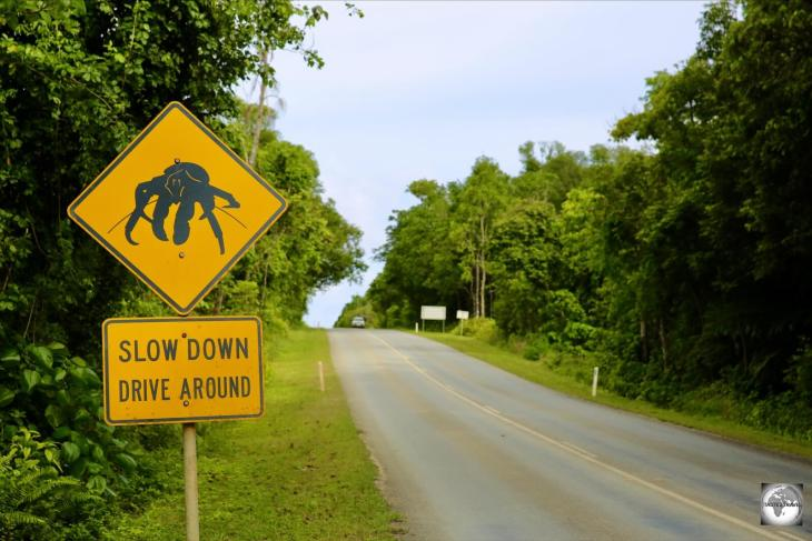 A road sign on Christmas Island, where the Robber crab is protected.