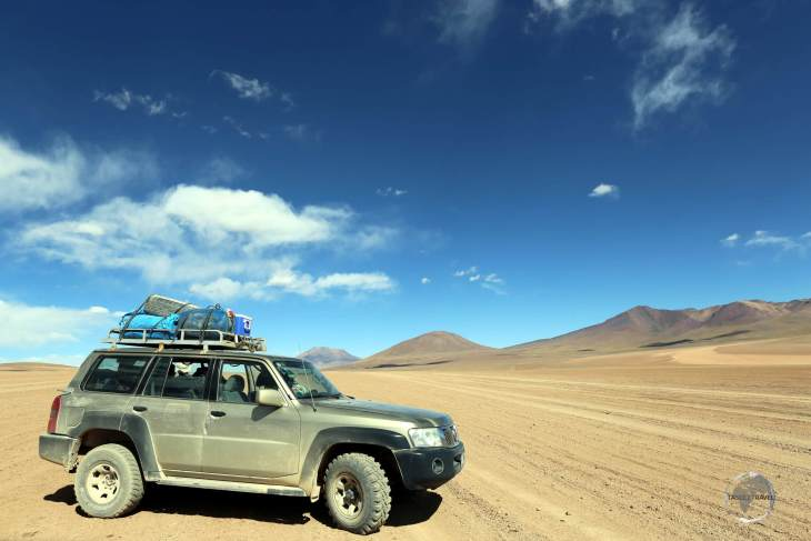 Our 4WD, which transported us for 3 days through the remote, high-altitude landscapes of the 'Salar de Uyuni' and the Bolivian altiplano.