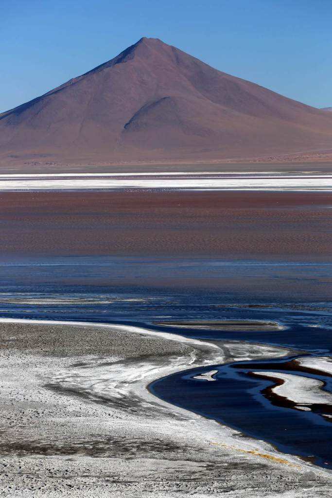 Laguna Colorada (Red Lagoon) is a shallow salt lake in the southwest of the Bolivian altiplano, close to the Chilean border.