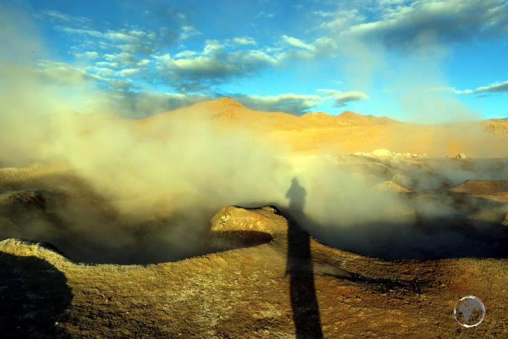 A highlight of the Eduardo Avaroa Reserve in Bolivia, 'Sol de Mañana' (Morning Sun) is a place of intense volcanic activity where visitors are free to wander at will.