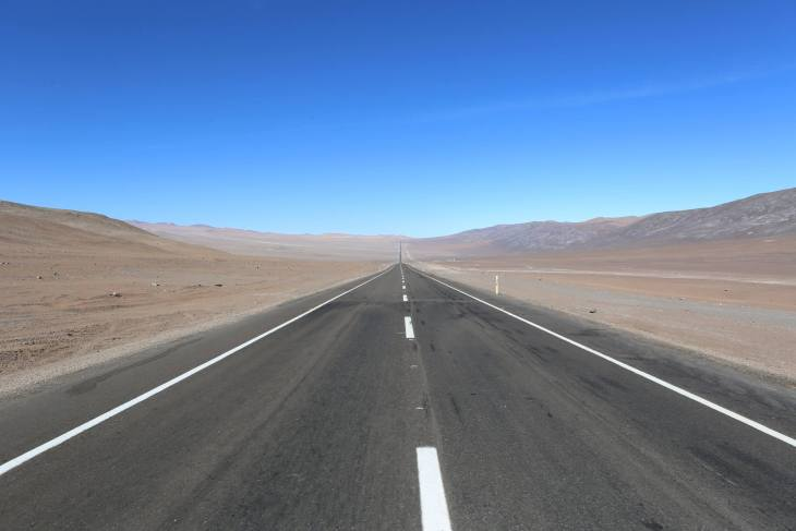 Driving through the Atacama desert, the driest nonpolar desert in the world. The Atacama covers a 1,600 km (990 mi) strip of land in northern Chile.