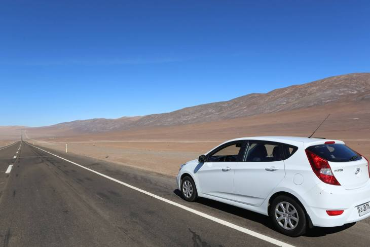 Driving my rental car through the Atacama desert, whose most prominent characteristic is the almost total lack of precipitation.