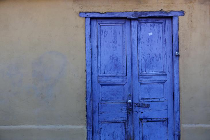 Detail of a doorway in the old town of San Pedro de Atacama, which lies in the far north of Chile, near the border of Bolivia.