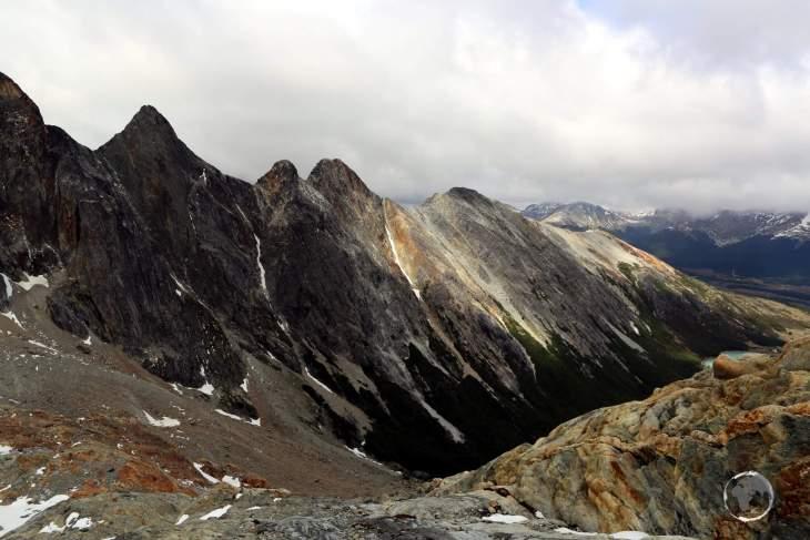 A view of the Sierra Alvear range from the 'Ojo del Albino' Glacier, Tierra del Fuego, Argentina.