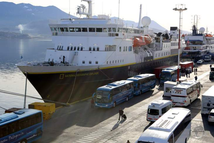"""A view of the """"MV National Geographic Explorer"""", one of the many Antarctic expedition ships which depart for Antarctica from Ushuaia."""