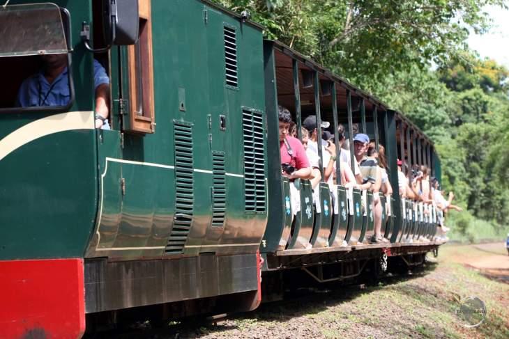 A tourist train on the Argentine side of Iguazú Falls.