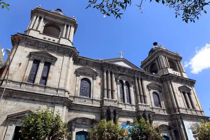 Constructed in 1835, 'Catedral Metropolitana Basílica Nuestra Señora' (Cathedral of La Paz) overlooks Plaza Murillo in the city of La Paz, Bolivia.