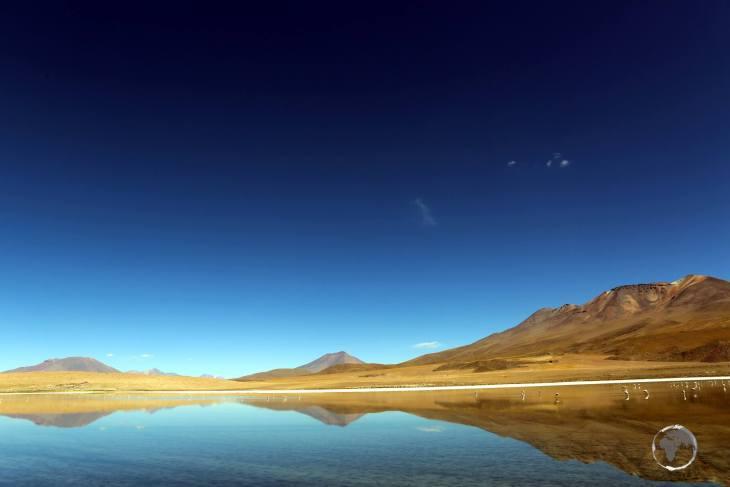 A reflection shot of the mesmerising Laguna Cañapa, a highlight of the Bolivian altiplano, near the Salar de Uyuni.
