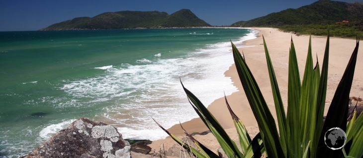 A view of Armação Beach, one of the finest beaches on the island of Florianópolis, a highlight of Santa Catarina state in southern Brazil.