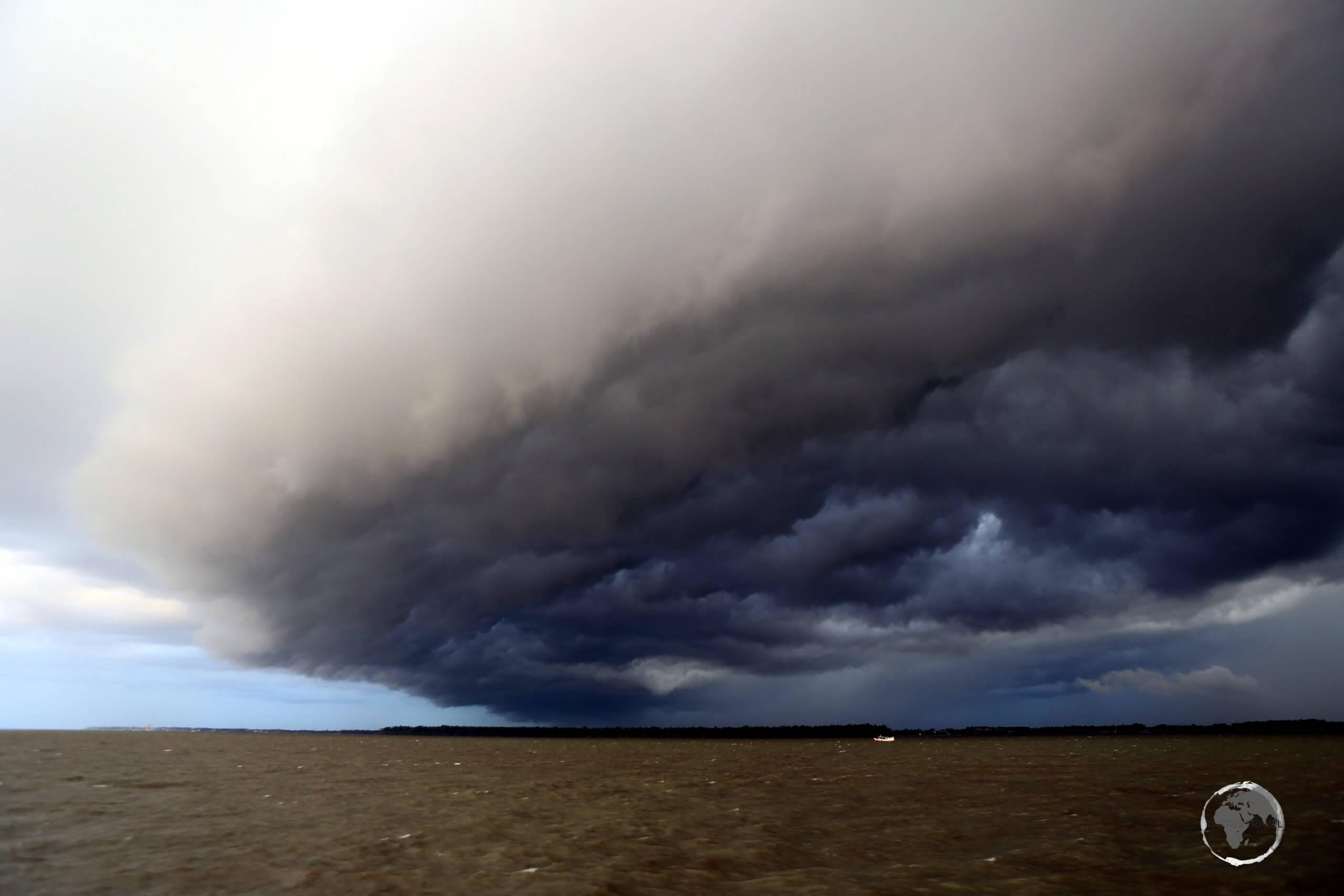Storm clouds over the Amazon river near Belém.