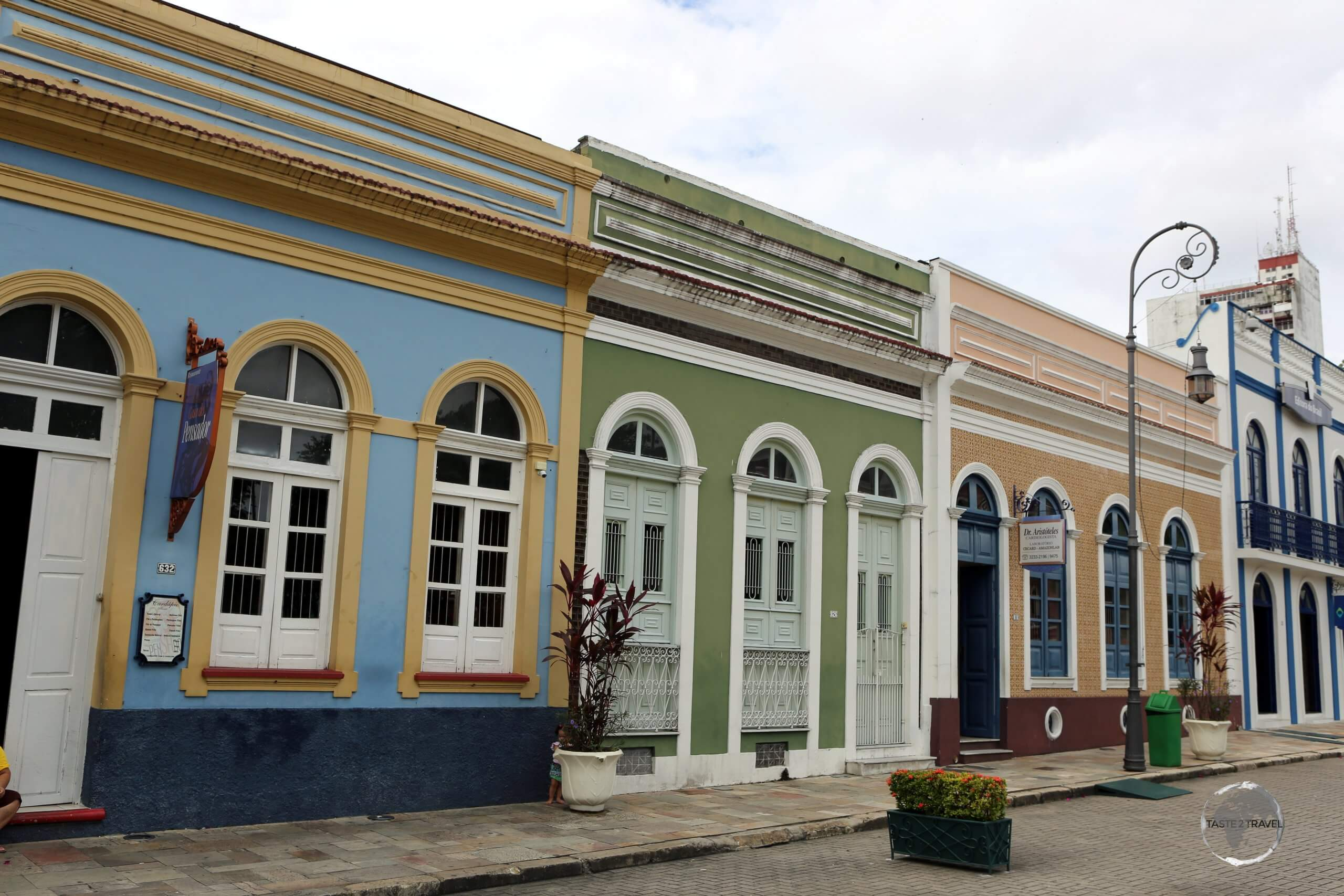 Colourful houses in Manaus, the capital of Amazonas state, which is situated in the heart of the Amazon Rainforest, 900 miles (1,450 km) inland from the Atlantic coast.