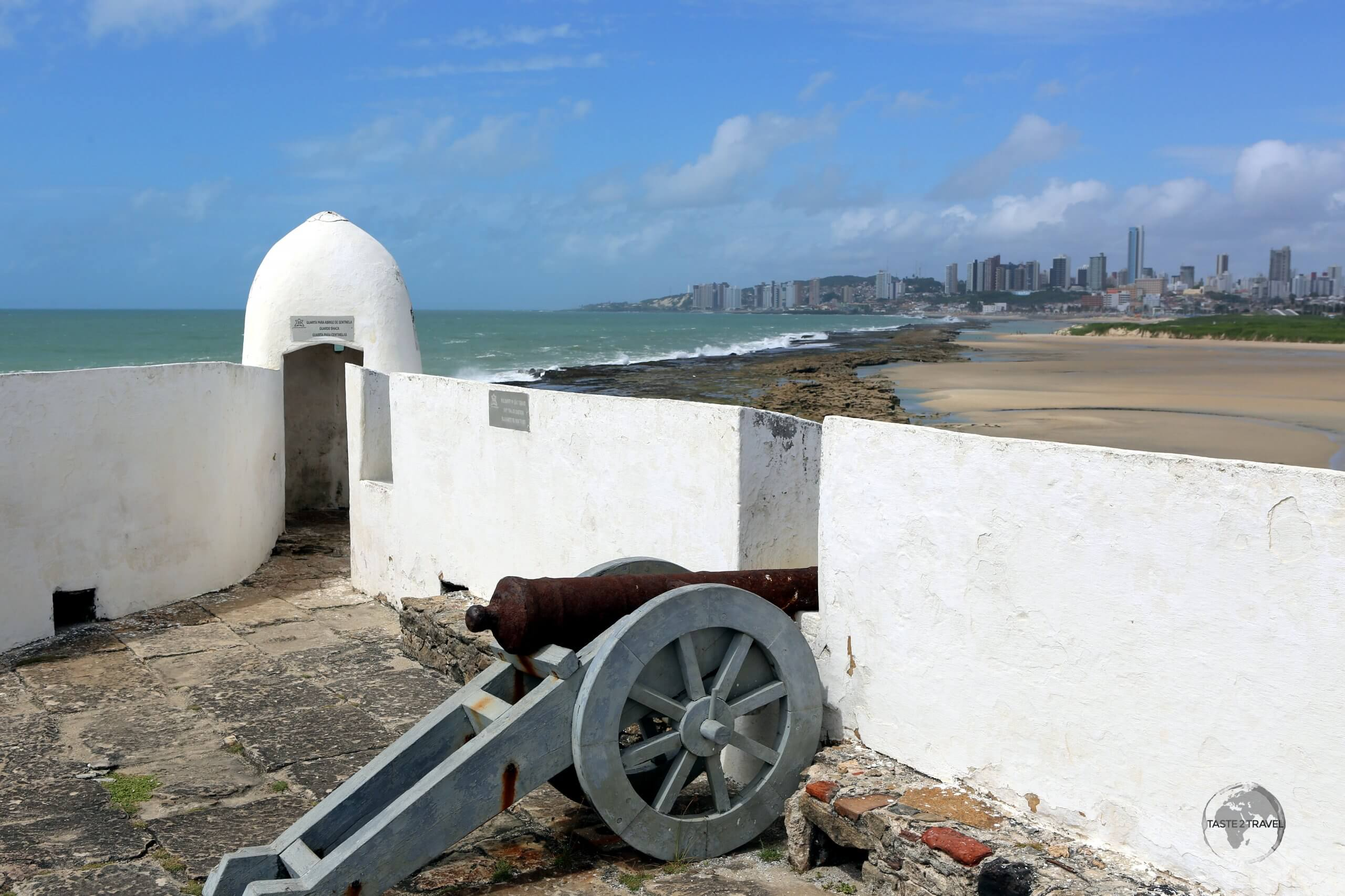 A view, from Forte dos Reis Magos, of the Atlantic coast and the city of Natal, capital of the Brazilian state of Rio Grande do Norte.