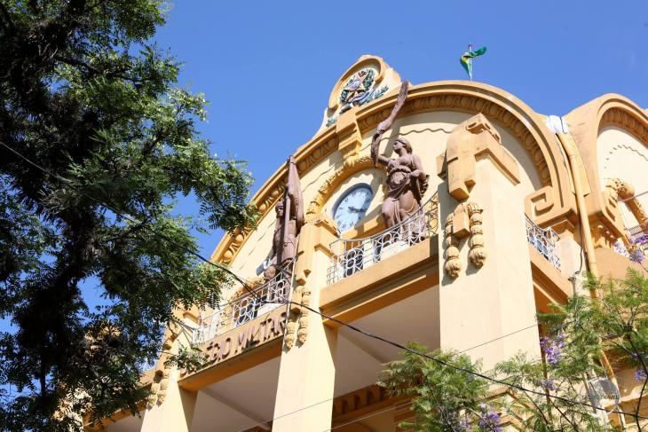 Detail of the historic Military College (Colégio Militar) in Porto Alegre.