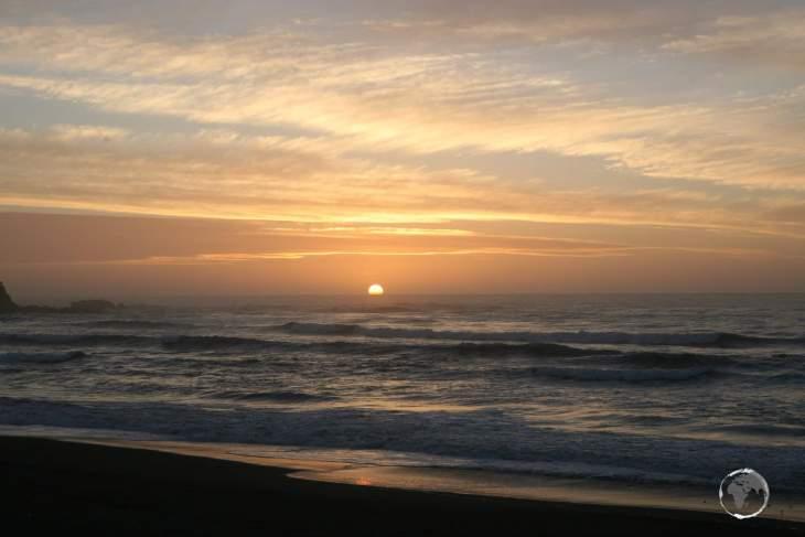 Sunset over Pichilemu beach in central Chile.