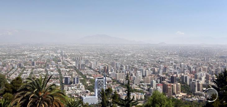 A view of Santiago, the capital of Chile and home to 5.6 million inhabitants, from San Cristóbal Hill.