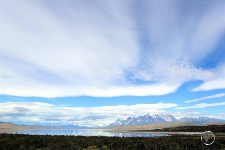 A view of the Torres del Paine massif from Lago Sarmiento, one of the lakes located in Torres del Paine National Park, in Chilean Patagonia.