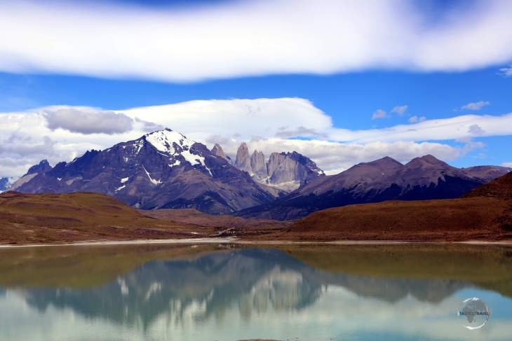 A view of the Torres del Paine massif from Lago Sarmiento, one of the many highlights of the Torres del Paine National Park.
