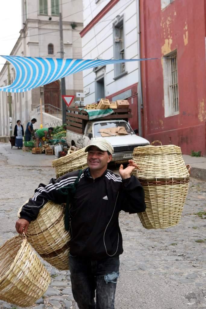 A basket vendor in Valparaiso.