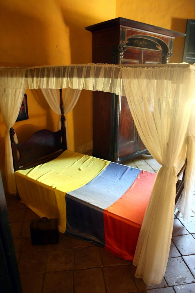 This bed at Quinta de San Pedro Alejandrino in Santa Marta, is where the famed Liberator, Simón Bolívar, spent his last days before dying from tuberculosis.