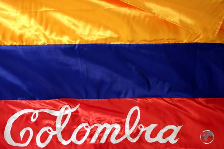 A stylised Colombian flag in the Museo de Antioquia (Museum of Antioquia), an art museum in Medellín, Colombia.