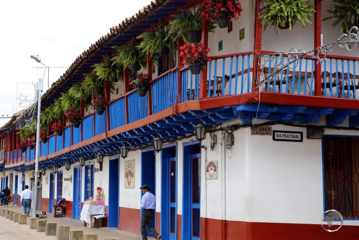 Traditional buildings line the streets of historic Zipaquirá (founded in 1600), which is located 49 km north of Bogota.