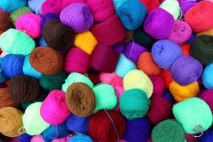 Colourful yarn at Otavalo craft market.