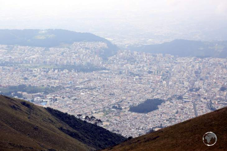 A view of the Ecuadorian capital, Quito, which is located at 2,850 metres (9,350 ft) from the top of the cable car, which is located at 3,945 metres (12,943 feet).