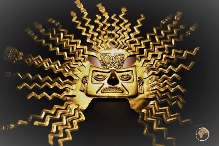 A gold mask of the sun god Inti, is a highlight of the National Ethnographic Museum of Ecuador in Quito.