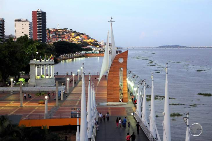 A view of 'Malecón 2000', the boardwalk overlooking the Guayas river in the Ecuadorian port city of Guayaquil.