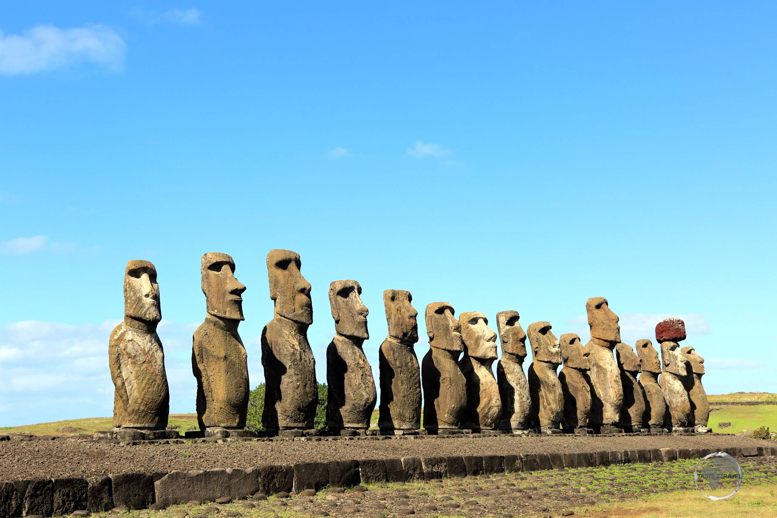 The moʻai, such as these at Ahu Tongariki, are chiefly the living faces of deified ancestors. Erected to act as guardians, the statues always gaze inland, across their former clan lands.