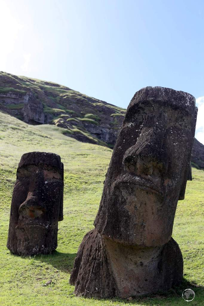 Completed moai statues awaiting delivery remain half-buried on the slopes of the Rano Raraku stone quarry. 95% of all Easter Island statues were carved from this quarry.