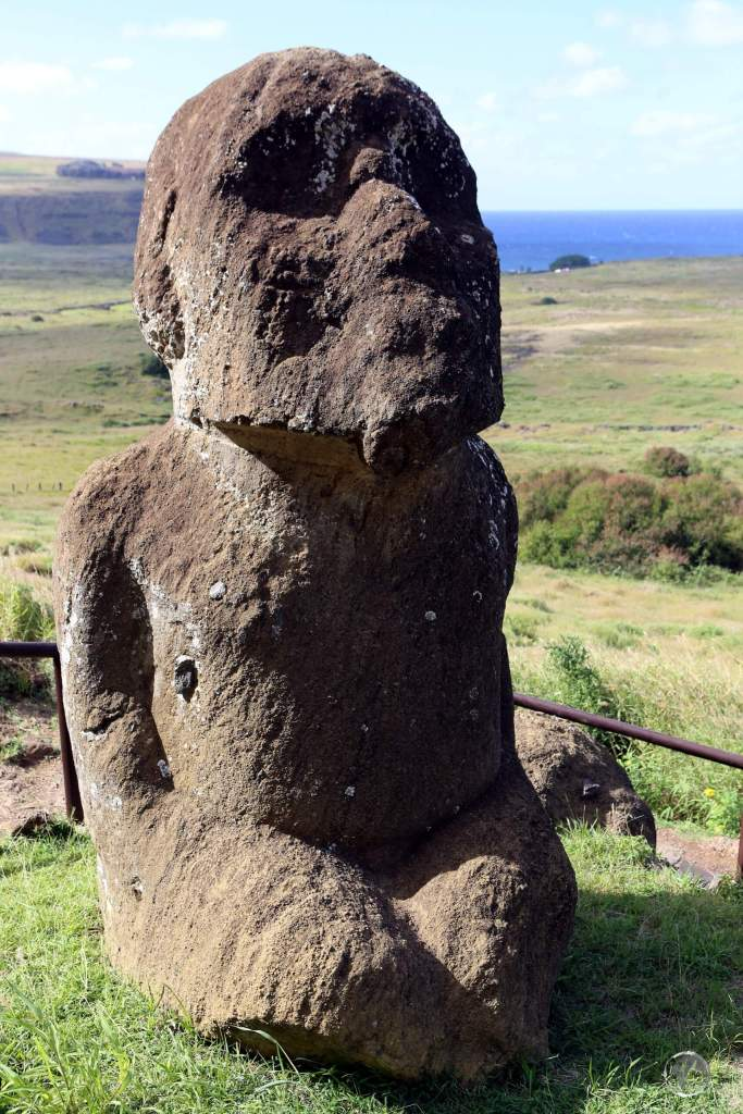 Located at the Rano Raraku quarry, Tukuturi is a truly unique moai. While all moai are standing and clean-shaven, Tukuturi is kneeling and features a beard. He also has a rounded head, soft nose, and upward-gazing eyes!