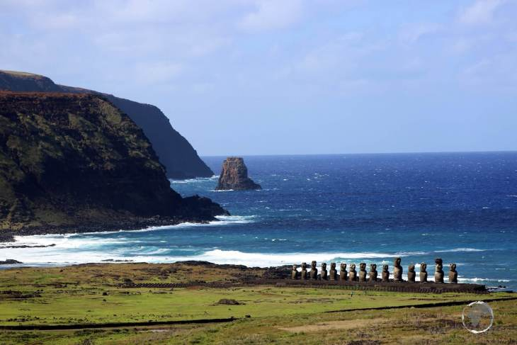 A distant view of Ahu Tongariki, where the moai stand with their backs to the sea. The purpose of the statues was to watch over the islands' inhabitants, hence they all face inland.