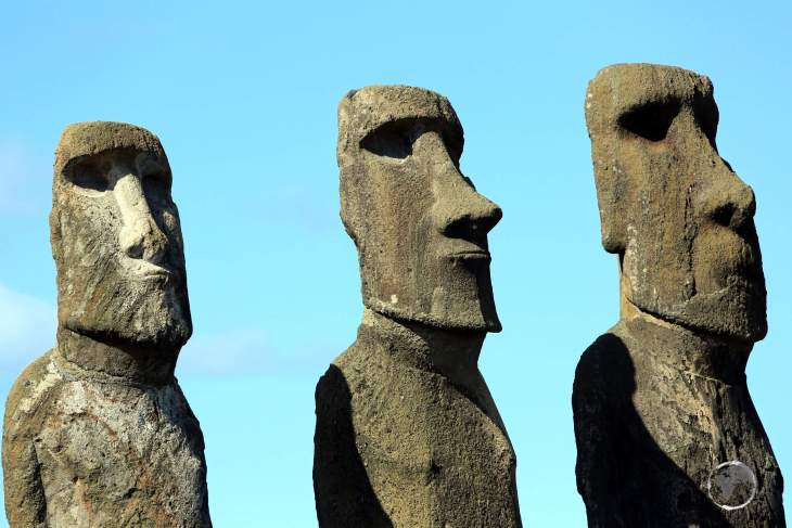 Moai, such as these at Ahu Tongariki, are monolithic human figures carved by the Rapa Nui people between the years 1250 and 1500.