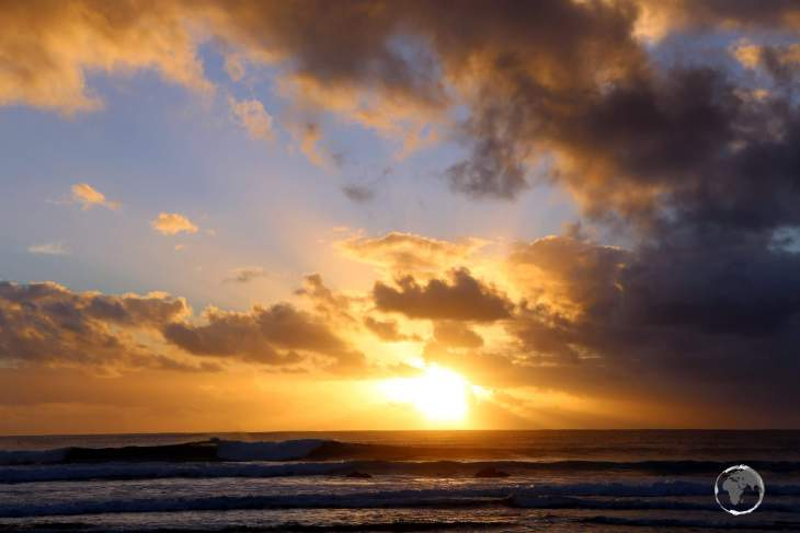 Sunset over the Pacific Ocean, as seen from Hanga Roa, the capital of Easter Island.