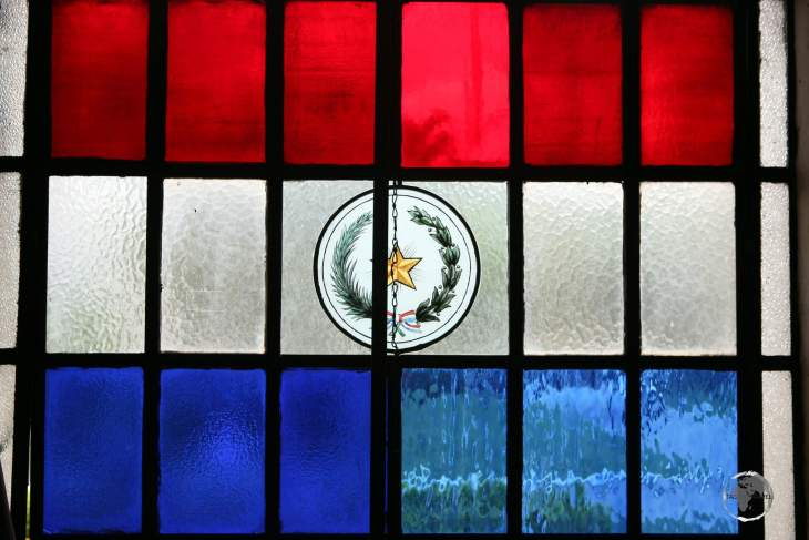 The flag of Paraguay as a stained-glass window in the capital, Asunción.