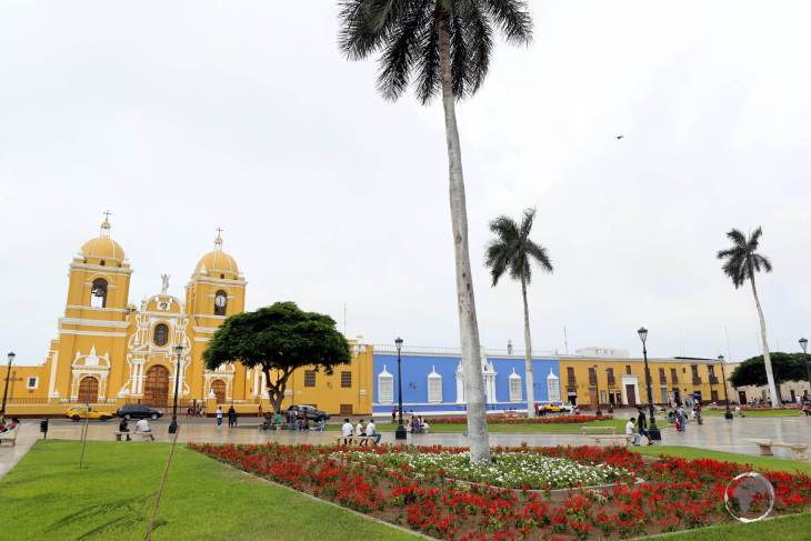 The centre of historic Trujillo, the Plaza de Armas, which was conceived in 1534, is the main square where the Spanish foundation of Trujillo was made, in northern Peru.